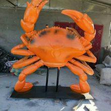 海鲜城大闸蟹道具酒店海鲜主题玻璃钢雕塑大型海洋龙虾膀蟹模型厂