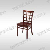 餐椅 复古餐厅餐椅 创意靠背椅 实木高背椅 千鸟格缕空靠背椅
