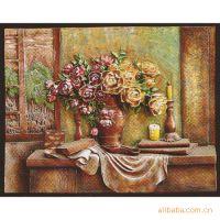 高档装饰壁挂树脂浮雕画立体工画挂件烛台大盆花6201