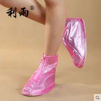 供应利雨505女士加厚底珠光色平跟PVC非一次性防水防滑防雨鞋套