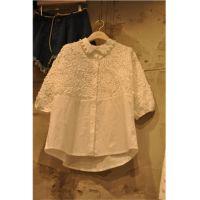 韩国东大门代购2015夏季刺绣立体花朵拼接短袖衬衫甜美娃娃领上衣