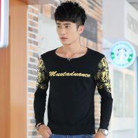 韩版T恤男长袖 男士休闲长袖T恤 纯棉男士复古印花T恤