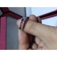 碧玺戒指,实物超闪,颜色鲜艳