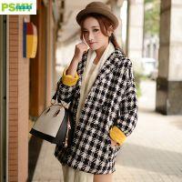 2014韩版时尚女装黑白经典格子撞色袖口潮流羊毛呢大衣外套秋冬