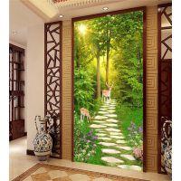 景灿大型3D无缝墙布 定制简约自然风景树林麋鹿壁纸 无纺布壁画 过道玄关走廊背景墙纸 厂家一件代发