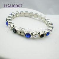 纯银手链生产定做 925银镶宝石手饰来图来样代加工厂设计制造厂家