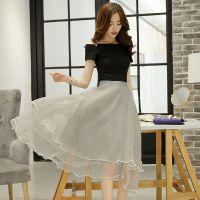 2015夏装新品 韩版修身纯色蓬蓬裙 一字领两件套套裙 厂家直销