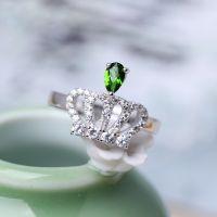 珠宝首饰 宝石 ***纯天然巴西碧玺镶嵌戒指 925银 女款水晶饰品