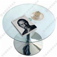 限时*** 西餐厅咖啡厅圆形时尚优质钢化玻璃西餐桌 热卖
