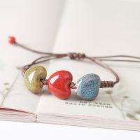 颜色釉圆圈陶瓷片手链 民族风纯手工编织陶瓷小饰品  促销