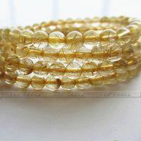 巴西 纯天然 金发晶6mm水晶手链 天然水晶发晶手链批发