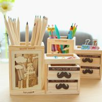 韩版文具 铁塔胡子抽屉笔筒 韩国可爱七巧板 木质创意多功能笔座