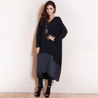 2015新款 欧美品牌拼接针织大码女装 长袖胖MM显瘦长款大码连衣裙