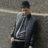 马克家男装 14冬装新款时尚潮流韩版PU皮拼接棒球衫棉衣棉服外套