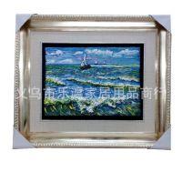 新款梵高油画系列之《桑特海景》树脂浮雕工艺品立体装饰框画