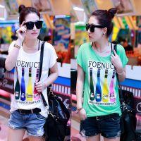 便宜 夏季韩版简约条纹短袖T恤韩范上衣服学生少女装闺蜜姐妹体恤