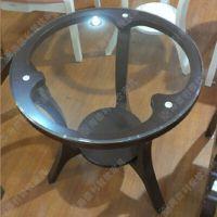 欧式风经典圆形玻璃西餐桌 铸铁脚双层高档西餐西餐桌 厂价热卖