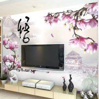 网店代理中式山水3d装饰墙纸 自粘壁纸 电视沙发壁画墙布 木兰花