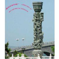 嘉祥祥瑞石雕厂工艺景观石龙柱加工厂 园林石龙柱生产厂家