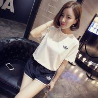 【小颖家】2015夏装新款韩版显瘦圆领短袖松紧腰休闲短裤套装 女