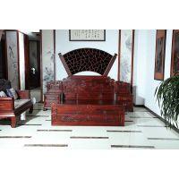武汉家具城怎么走交趾黄檀的高箱大床哪里货好港龙红木古典中式家具批发