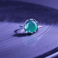 万秀丽达 925纯银天然玉髓 时尚戒指指环女珠宝饰品