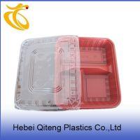 厂价批发:一次性快餐盒 一次性保鲜盒 三格黑红饭盒