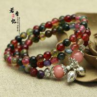 天然水晶碧玺玛瑙佛珠款手链多圈手链转经珠佛珠手链