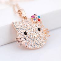 莉迪卡娜韩国时尚水钻水晶花朵 hello kitty猫锁骨项链3310020701