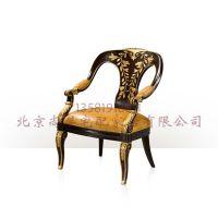 英式亚历山大实木雕花休闲椅 皇家家具书椅l拉卡卡卡萨家具定制