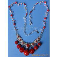 合金项链 韩式饰品项链 红色树脂珠项链 欧美式女式项链
