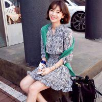 2015韩国东大门服装中袖名媛雪纺连衣裙 夏季女装韩国官网连衣裙