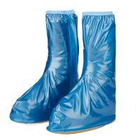 批发XL码蓝色加厚底高筒耐磨鞋套 便携式鞋套 防泥防滑防雨鞋套