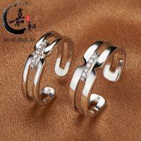 男女士韩版戒指纯925银镀pt铂金情侣对戒 爱相同爱不同