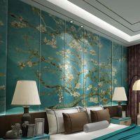 酒店皮革硬包墙画定做 中式背景墙花鸟软包壁画 仿羊巴皮革喷绘图案海星