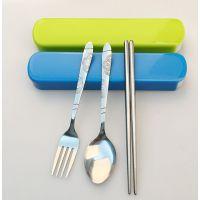 【名瑞MR-0722】不锈钢勺筷两件套 环保便携餐具 学生儿童饭勺 实用促销赠品