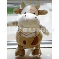 厂家定做坐姿小牛公仔 毛绒奶牛来图定制 穿衣牛定做婴儿玩具牛仔