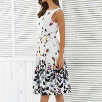 欧美外贸春夏季新品无袖印花连衣裙