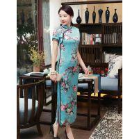 新款桑蚕丝中国风旗袍展现妙曼好身材欧诺斯蒂免费加盟