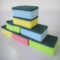 永盛刷锅洗碗海绵百洁布 高密厨房去污抹布含砂 彩色厨房清洁海绵擦8个装