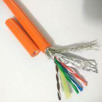 水下机器人专用线缆 橙色凯夫拉抗拉4对8芯屏蔽防海水网线 水下监控网络电缆