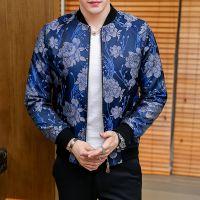 忆惜格罗 速卖通 夹克秋季新品男士外套 时尚青年男式花朵提花夹克韩版男装