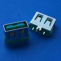 短体10.0母座USB 180度直插大鱼叉固定脚DIP/小米款/直边平口/绿胶