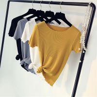 韩版女装大码宽松针织毛衣 外贸库存尾货杂款女式短袖针织T恤 地摊便宜服装货源