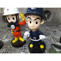 新品玻璃钢消防员警察交通警卡通人物公仔雕塑模型专家