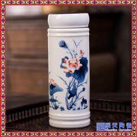 陶瓷保温杯水杯 双层直身带盖中式商务男士保温茶杯子