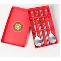 婚庆回礼商务礼品 创意不锈钢餐具 韩式贴花勺筷餐具四件套