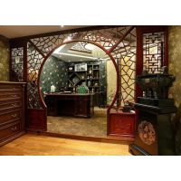 酒楼窗花门头-复古风格焊接铝合金方管窗花格