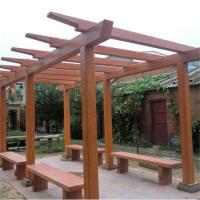 惠州中达水泥仿木凉亭制造厂家 混凝土防腐木花架长廊桌凳