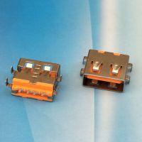 USB 2.0 AF卧式母座AF 11.0短体四脚沉板直边平口SMT贴板橙色胶芯-CY